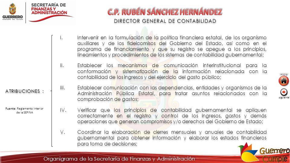 DIRECTOR GENERAL DE CONTABILIDAD ATRIBUCIONES : I.Intervenir en la formulación de la política financiera estatal, de los organismo auxiliares y de los
