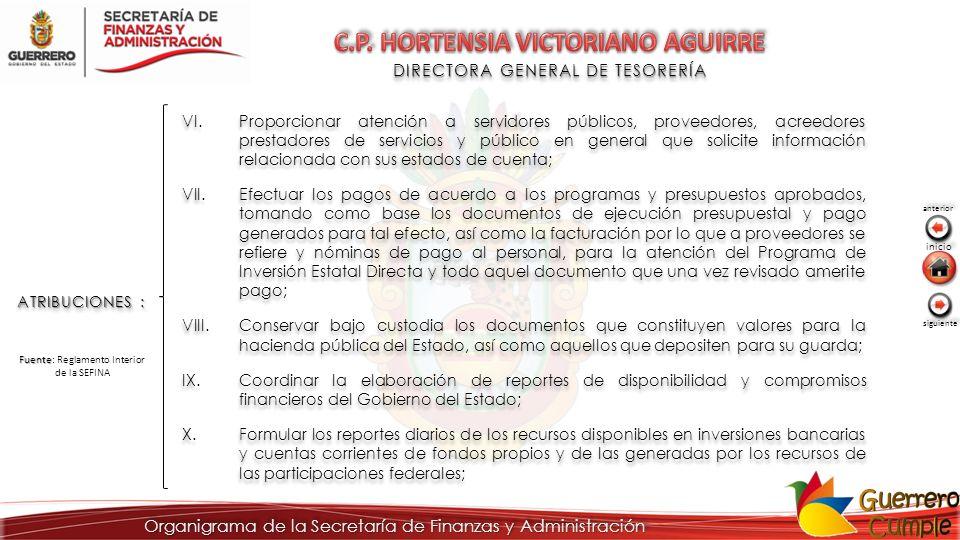 DIRECTORA GENERAL DE TESORERÍA ATRIBUCIONES : VI.Proporcionar atención a servidores públicos, proveedores, acreedores prestadores de servicios y públi