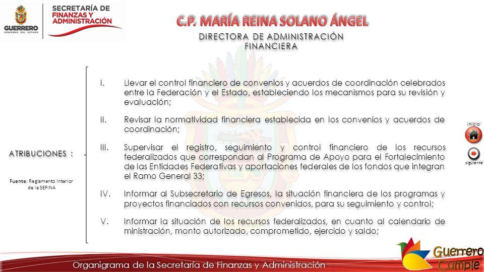 DIRECTORA DE ADMINISTRACIÓN FINANCIERA ATRIBUCIONES : I.Llevar el control financiero de convenios y acuerdos de coordinación celebrados entre la Feder