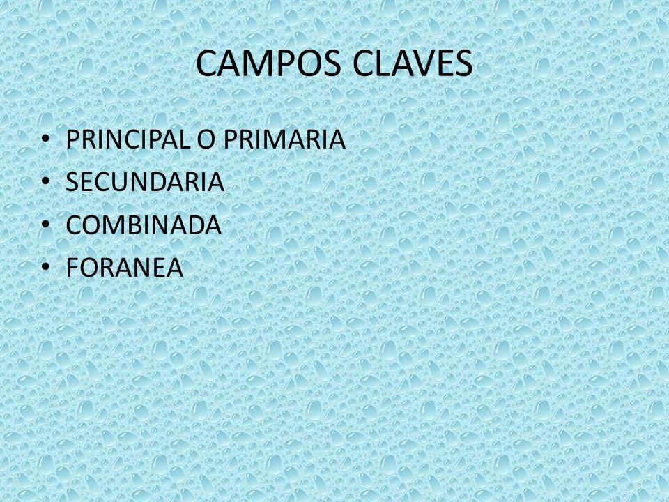 CAMPOS CLAVES PRINCIPAL O PRIMARIA SECUNDARIA COMBINADA FORANEA