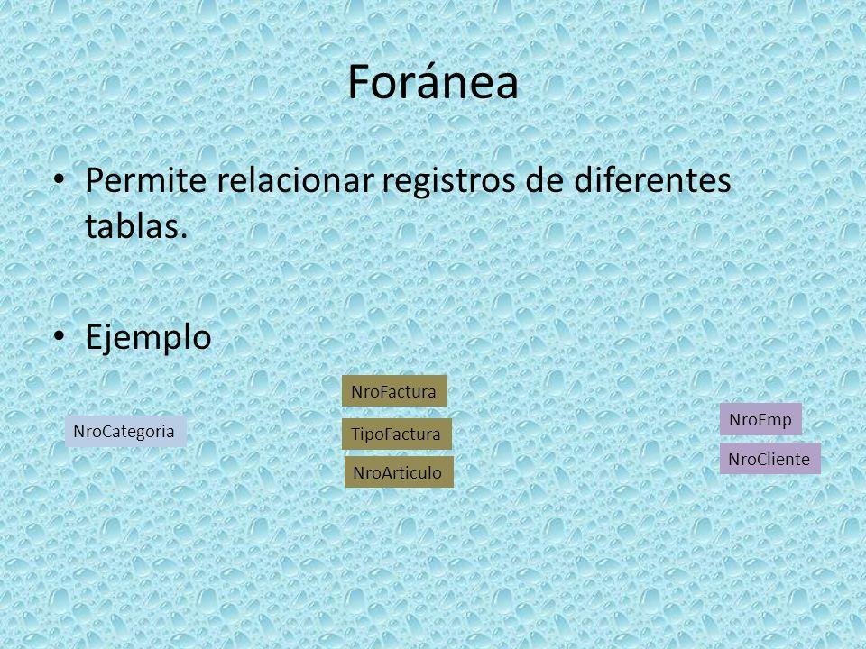 Foránea Permite relacionar registros de diferentes tablas. Ejemplo NroCategoria NroCliente NroArticulo NroEmp NroFactura TipoFactura