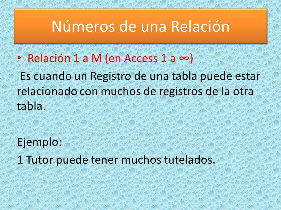 Números de una Relación Relación 1 a M (en Access 1 a ) Es cuando un Registro de una tabla puede estar relacionado con muchos de registros de la otra