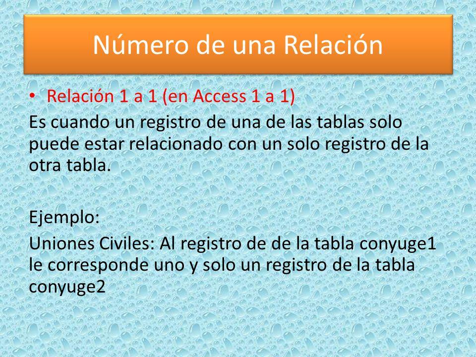 Número de una Relación Relación 1 a 1 (en Access 1 a 1) Es cuando un registro de una de las tablas solo puede estar relacionado con un solo registro d
