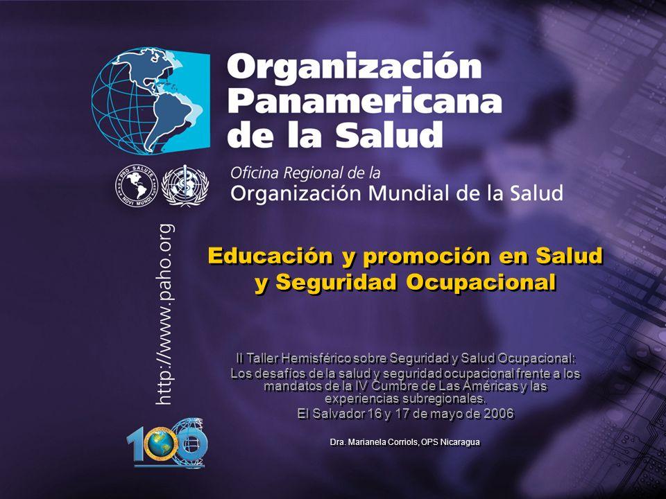2003 Organización Panamericana de la Salud Plan Regional de ST: Objetivos Mejorar las condiciones de vida, Salud y seguridad en los lugares de trabajo y bienestar de la población trabajadora para avanzar hacia un desarrollo humano sostenible Actores: - Internacionales y nacionales - Gubernamental -Organizaciones de Trabajo -Sector Privado - ONGs - Universidades - Centros Colaboradores