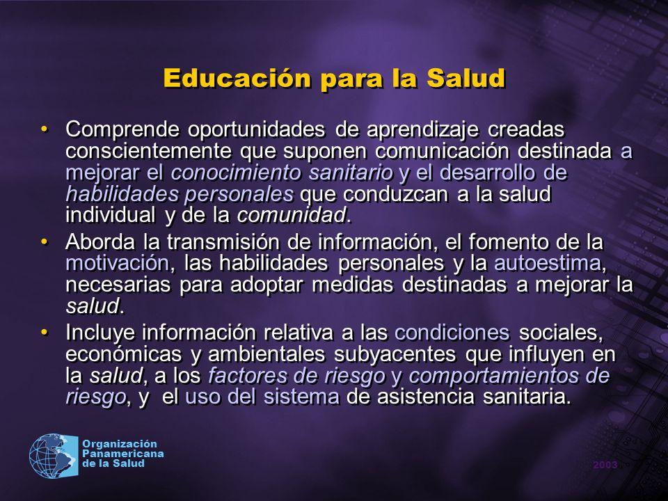 2003 Organización Panamericana de la Salud Educación para la Salud Comprende oportunidades de aprendizaje creadas conscientemente que suponen comunica