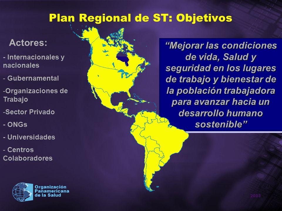 2003 Organización Panamericana de la Salud Plan Regional de ST: Objetivos Mejorar las condiciones de vida, Salud y seguridad en los lugares de trabajo