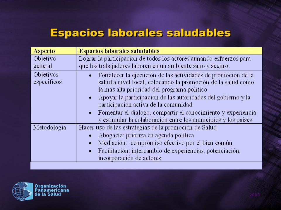 2003 Organización Panamericana de la Salud Espacios laborales saludables