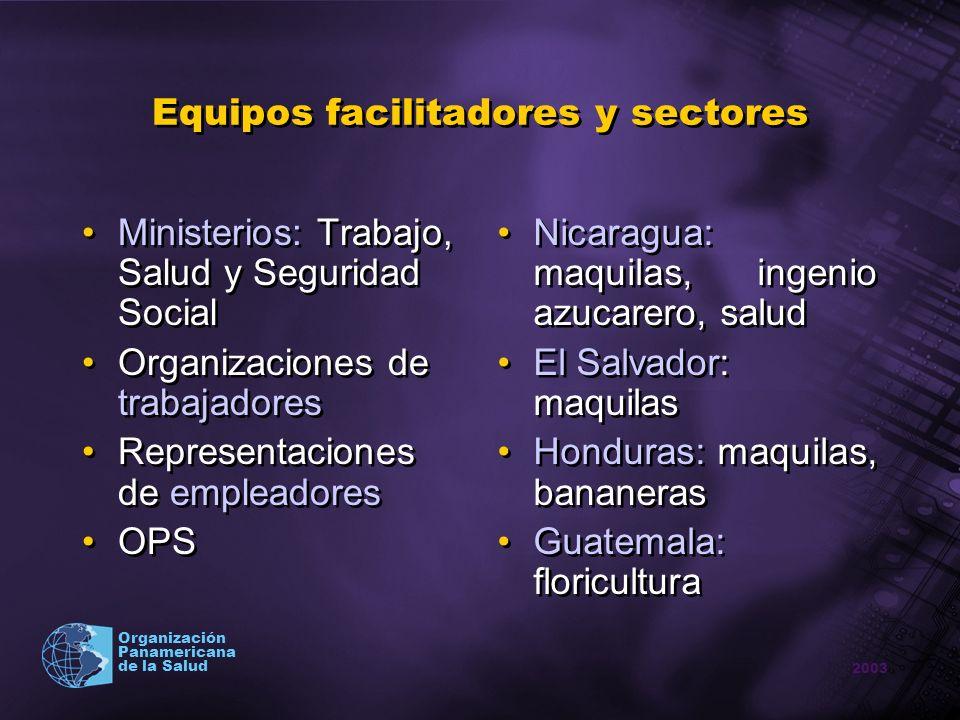 2003 Organización Panamericana de la Salud Equipos facilitadores y sectores Ministerios: Trabajo, Salud y Seguridad Social Organizaciones de trabajado