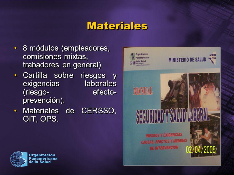 2003 Organización Panamericana de la Salud Materiales 8 módulos (empleadores, comisiones mixtas, trabadores en general) Cartilla sobre riesgos y exige