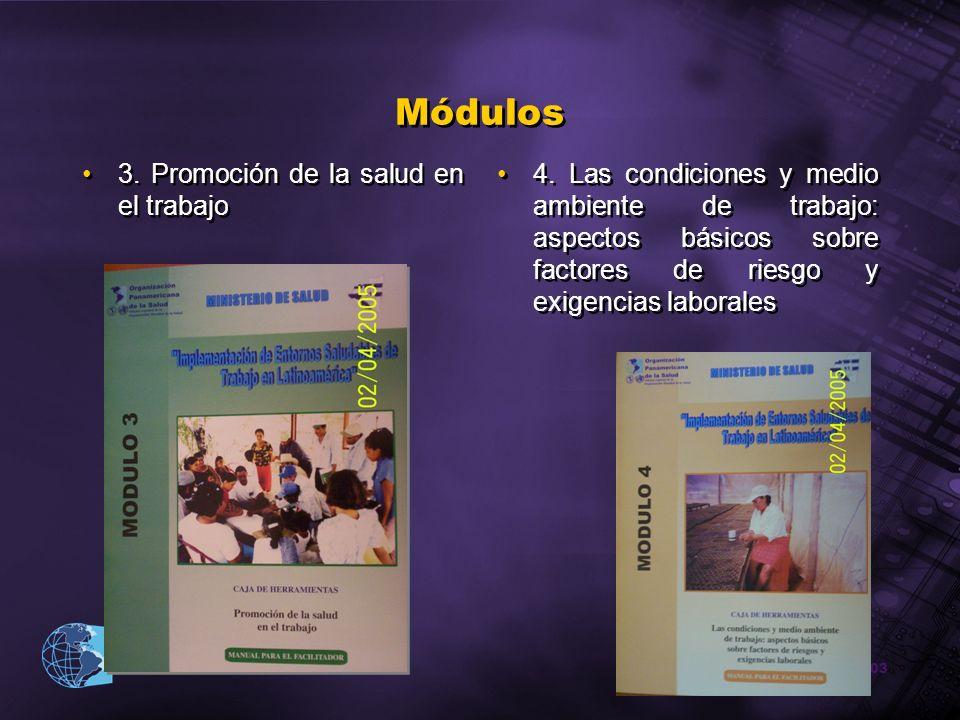2003 Organización Panamericana de la Salud Módulos 3. Promoción de la salud en el trabajo 4. Las condiciones y medio ambiente de trabajo: aspectos bás