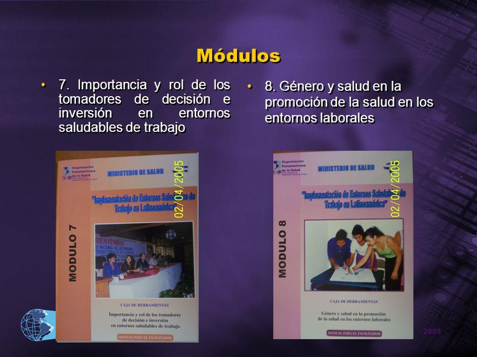 2003 Organización Panamericana de la Salud Módulos 7. Importancia y rol de los tomadores de decisión e inversión en entornos saludables de trabajo 8.