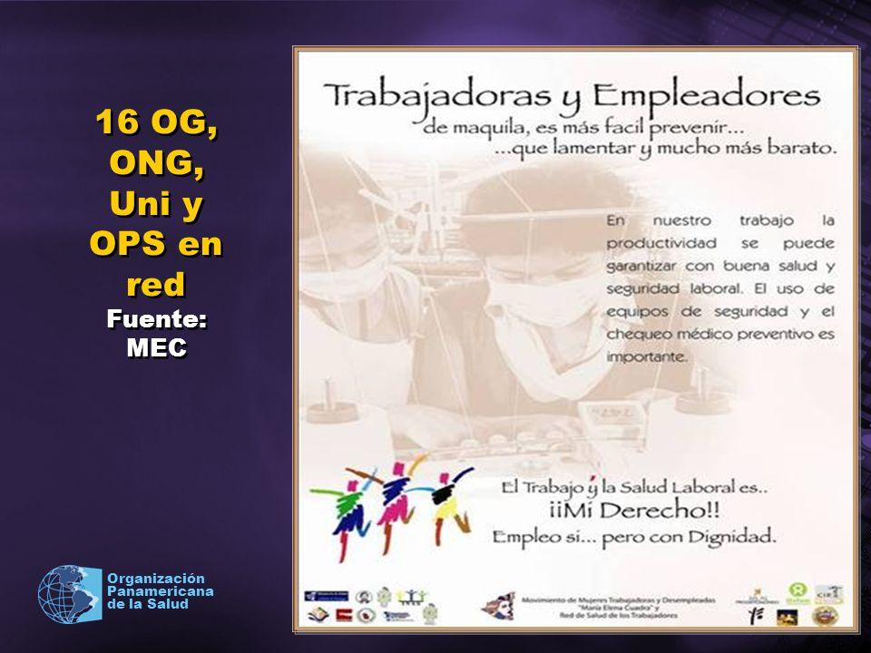 2003 Organización Panamericana de la Salud 16 OG, ONG, Uni y OPS en red Fuente: MEC