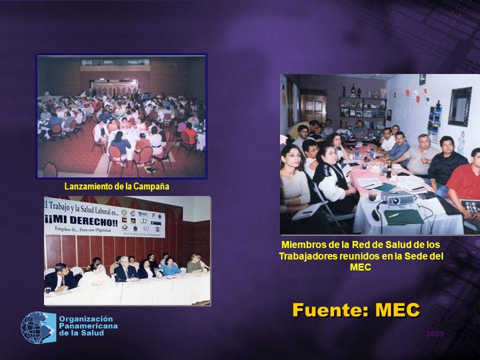 2003 Organización Panamericana de la Salud Lanzamiento de la Campaña Fuente: MEC Miembros de la Red de Salud de los Trabajadores reunidos en la Sede d