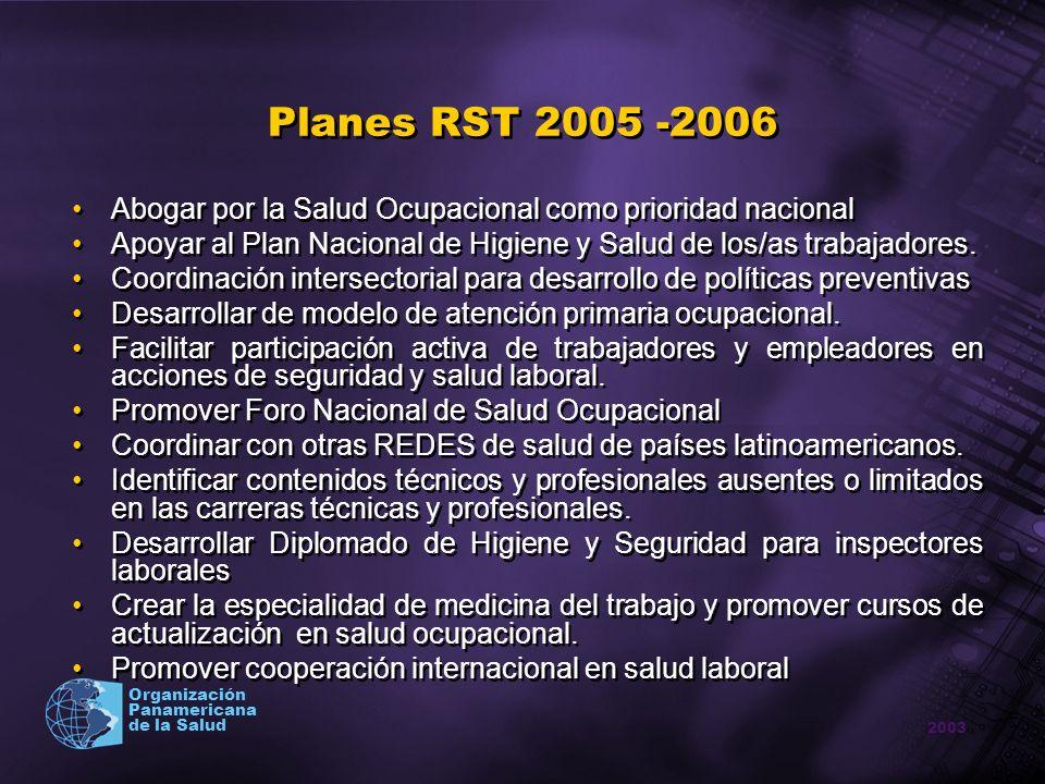 2003 Organización Panamericana de la Salud Planes RST 2005 -2006 Abogar por la Salud Ocupacional como prioridad nacional Apoyar al Plan Nacional de Hi