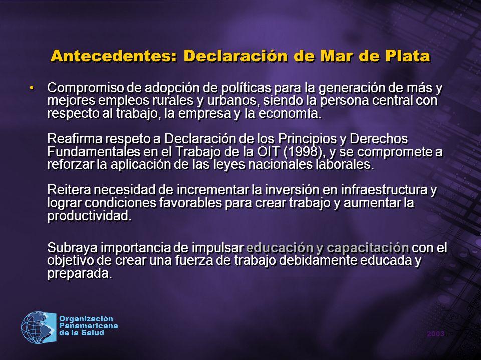 2003 Organización Panamericana de la Salud Antecedentes: Plan de Acción IV Cumbre Compromiso a eliminar trabajo forzoso (2010) y erradicar las peores formas de trabajo infantil (2020) y disminuir el número de niños que trabajan en violación a las leyes nacionales.