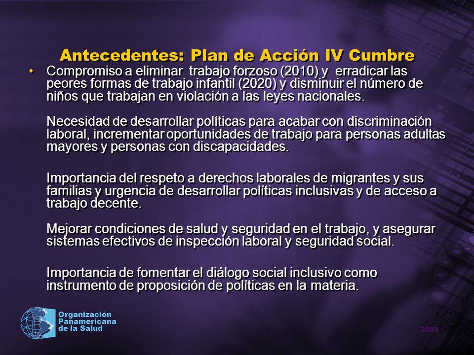 2003 Organización Panamericana de la Salud Antecedentes: Plan de Acción IV Cumbre Compromiso a eliminar trabajo forzoso (2010) y erradicar las peores