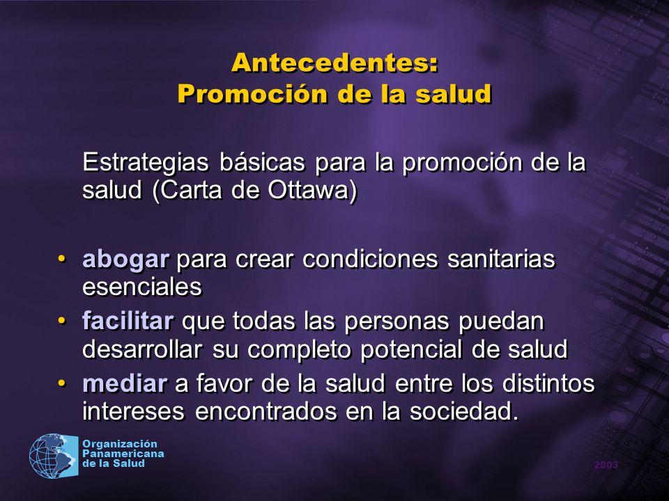 2003 Organización Panamericana de la Salud Antecedentes: Promoción de la salud Estrategias básicas para la promoción de la salud (Carta de Ottawa) abo