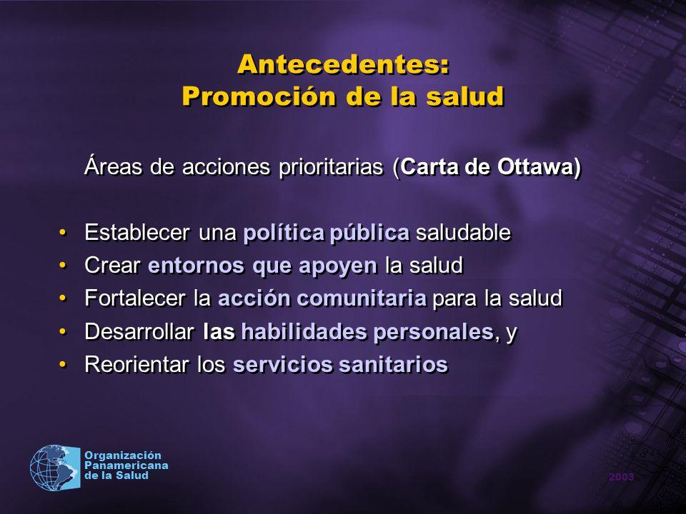 2003 Organización Panamericana de la Salud Antecedentes: Promoción de la salud Áreas de acciones prioritarias (Carta de Ottawa) Establecer una polític