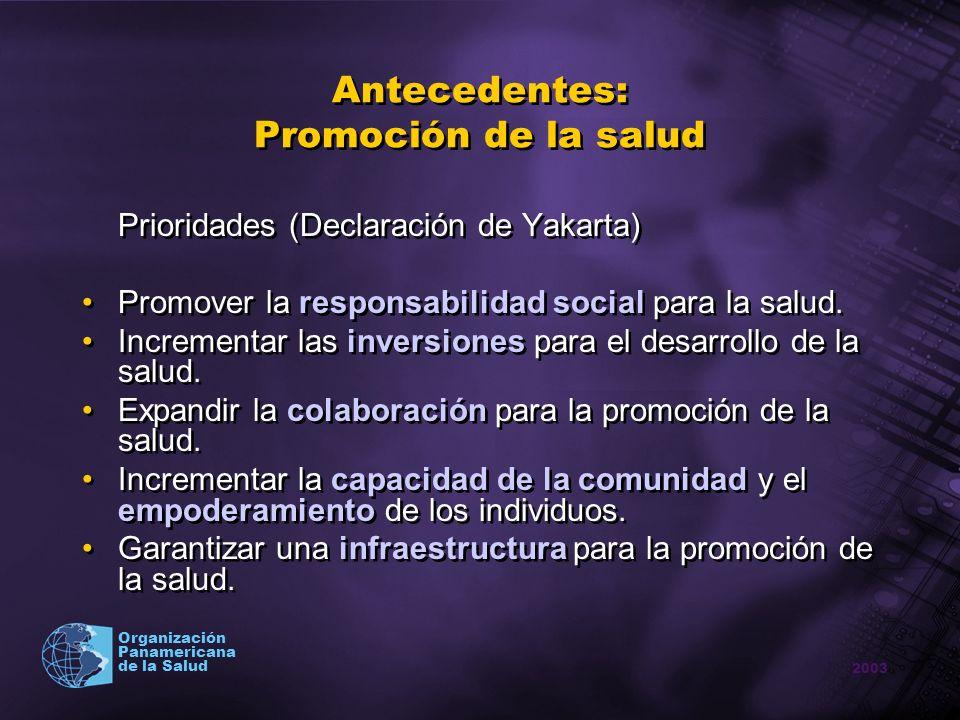 2003 Organización Panamericana de la Salud Antecedentes: Promoción de la salud Prioridades (Declaración de Yakarta) Promover la responsabilidad social
