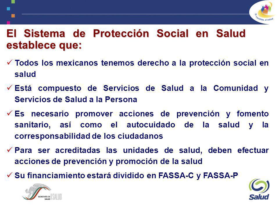 El Sistema de Protección Social en Salud establece que: Todos los mexicanos tenemos derecho a la protección social en salud Está compuesto de Servicio