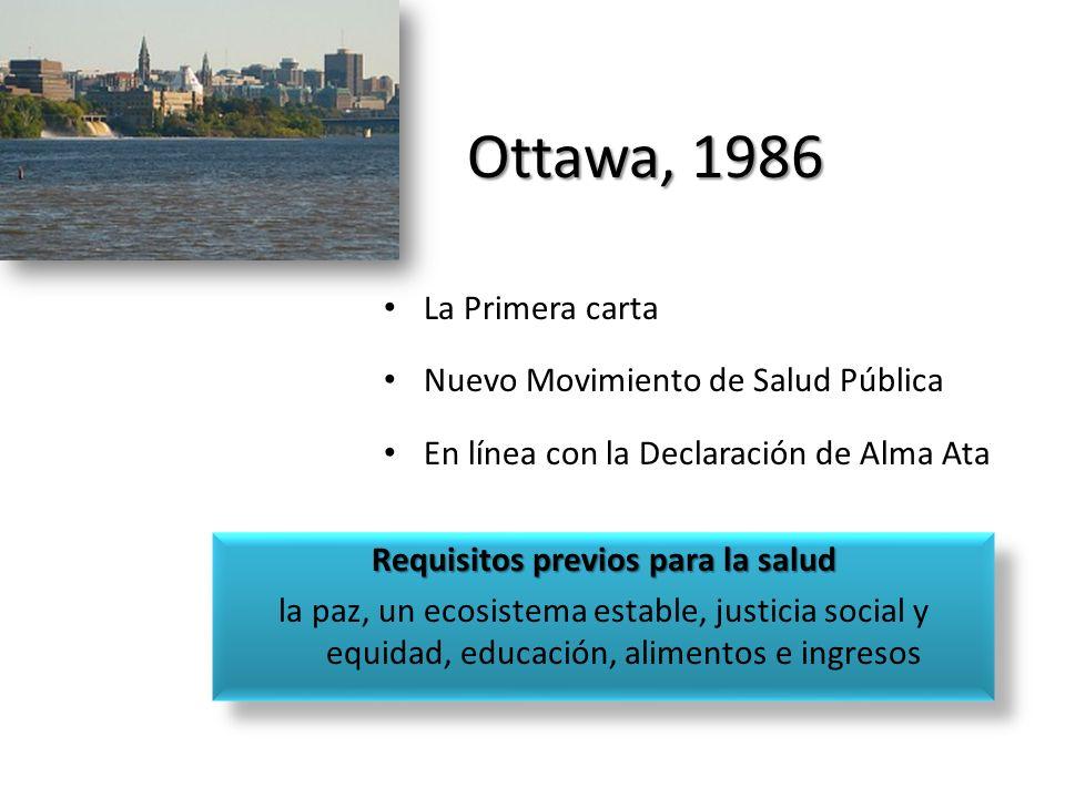 Ottawa, 1986 La Primera carta Nuevo Movimiento de Salud Pública En línea con la Declaración de Alma Ata Requisitos previos para la salud la paz, un ec