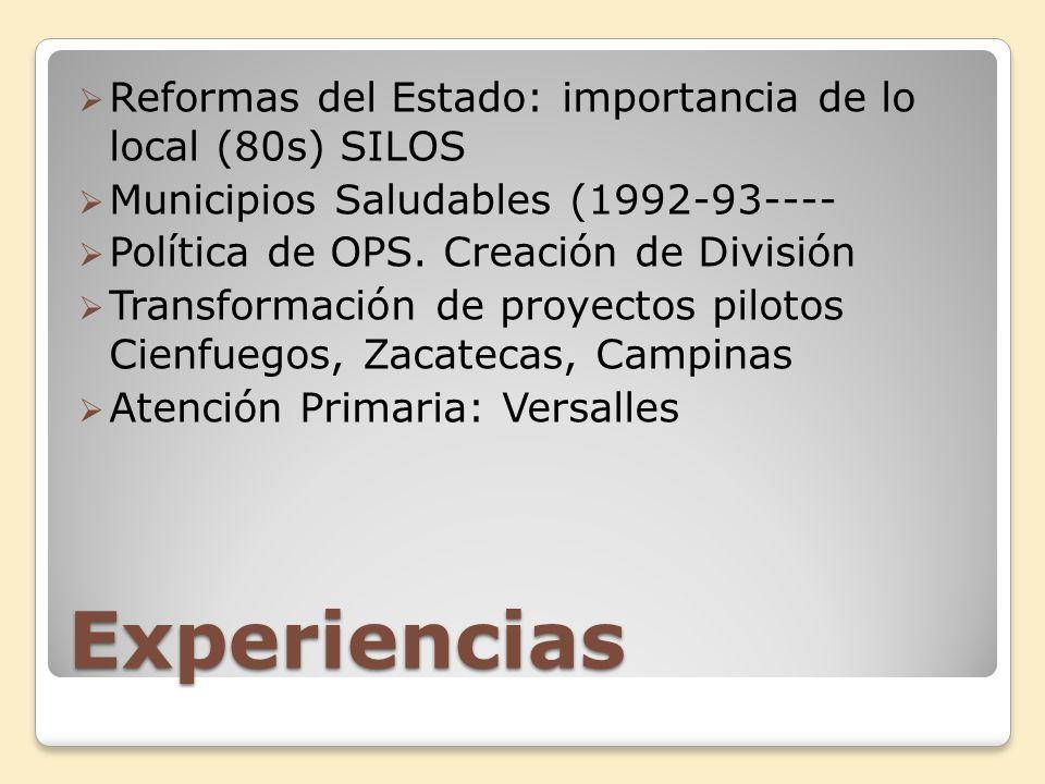Experiencias Reformas del Estado: importancia de lo local (80s) SILOS Municipios Saludables (1992-93---- Política de OPS. Creación de División Transfo