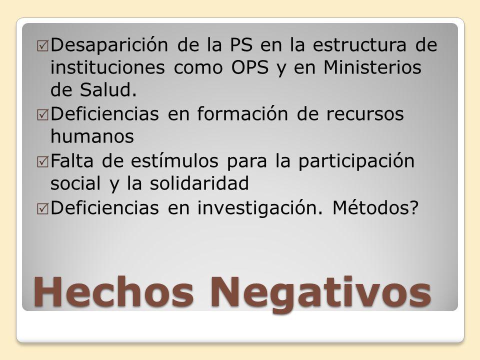 Hechos Negativos Desaparición de la PS en la estructura de instituciones como OPS y en Ministerios de Salud. Deficiencias en formación de recursos hum