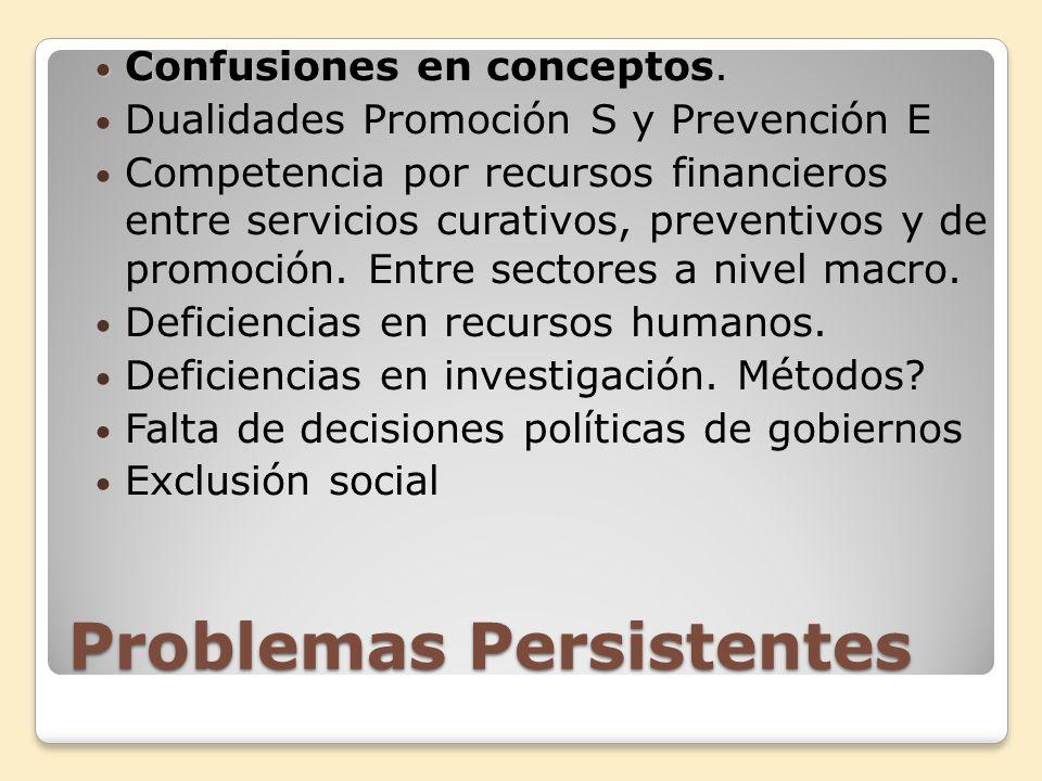 Problemas Persistentes Confusiones en conceptos Confusiones en conceptos. Dualidades Promoción S y Prevención E Competencia por recursos financieros e