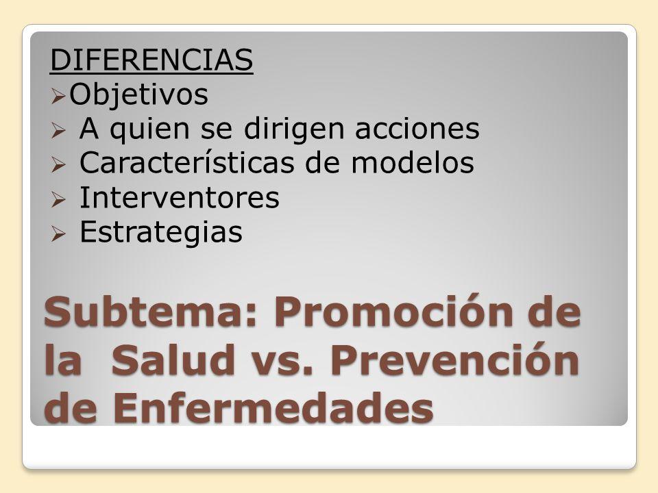 Subtema: Promoción de la Salud vs. Prevención de Enfermedades DIFERENCIAS Objetivos A quien se dirigen acciones Características de modelos Interventor