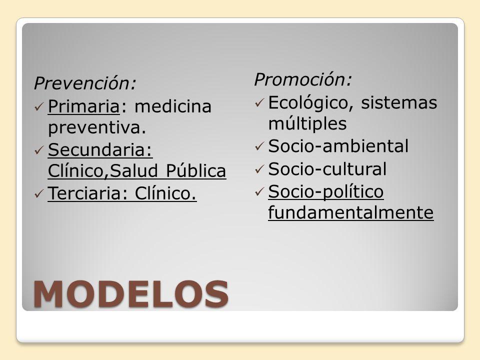MODELOS Prevención: Primaria: medicina preventiva. Secundaria: Clínico,Salud Pública Terciaria: Clínico. Promoción: Ecológico, sistemas múltiples Soci