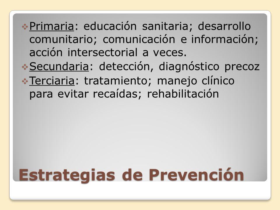 Estrategias de Prevención Primaria: educación sanitaria; desarrollo comunitario; comunicación e información; acción intersectorial a veces. Secundaria
