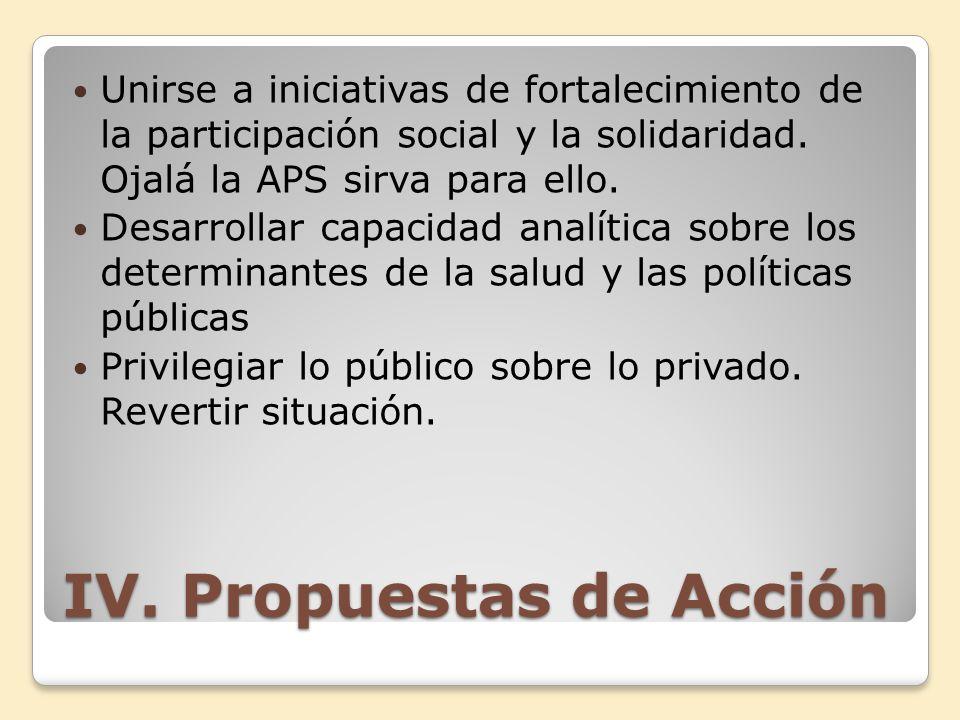 IV. Propuestas de Acción Unirse a iniciativas de fortalecimiento de la participación social y la solidaridad. Ojalá la APS sirva para ello. Desarrolla