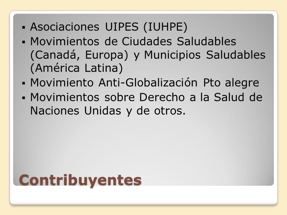 Contribuyentes Asociaciones UIPES (IUHPE) Movimientos de Ciudades Saludables (Canadá, Europa) y Municipios Saludables (América Latina) Movimiento Anti