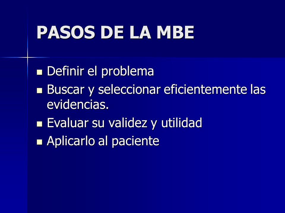 PASOS DE LA MBE Definir el problema Definir el problema Buscar y seleccionar eficientemente las evidencias. Buscar y seleccionar eficientemente las ev
