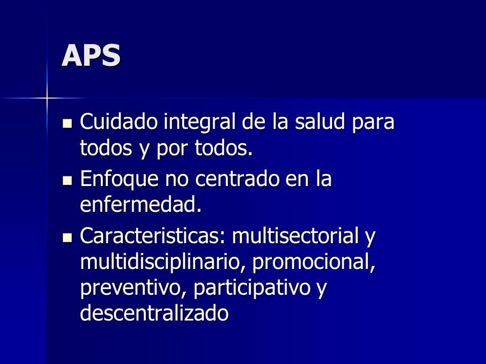 APS Cuidado integral de la salud para todos y por todos. Cuidado integral de la salud para todos y por todos. Enfoque no centrado en la enfermedad. En