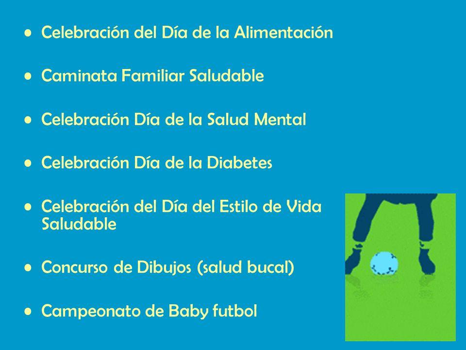 Celebración del Día de la Alimentación Caminata Familiar Saludable Celebración Día de la Salud Mental Celebración Día de la Diabetes Celebración del Día del Estilo de Vida Saludable Concurso de Dibujos (salud bucal) Campeonato de Baby futbol