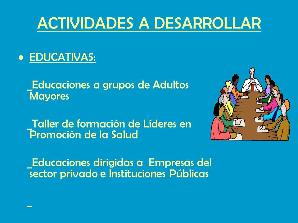 ACTIVIDADES A DESARROLLAR EDUCATIVAS: _Educaciones a grupos de Adultos Mayores _Taller de formación de Líderes en Promoción de la Salud _Educaciones dirigidas a Empresas del sector privado e Instituciones Públicas _