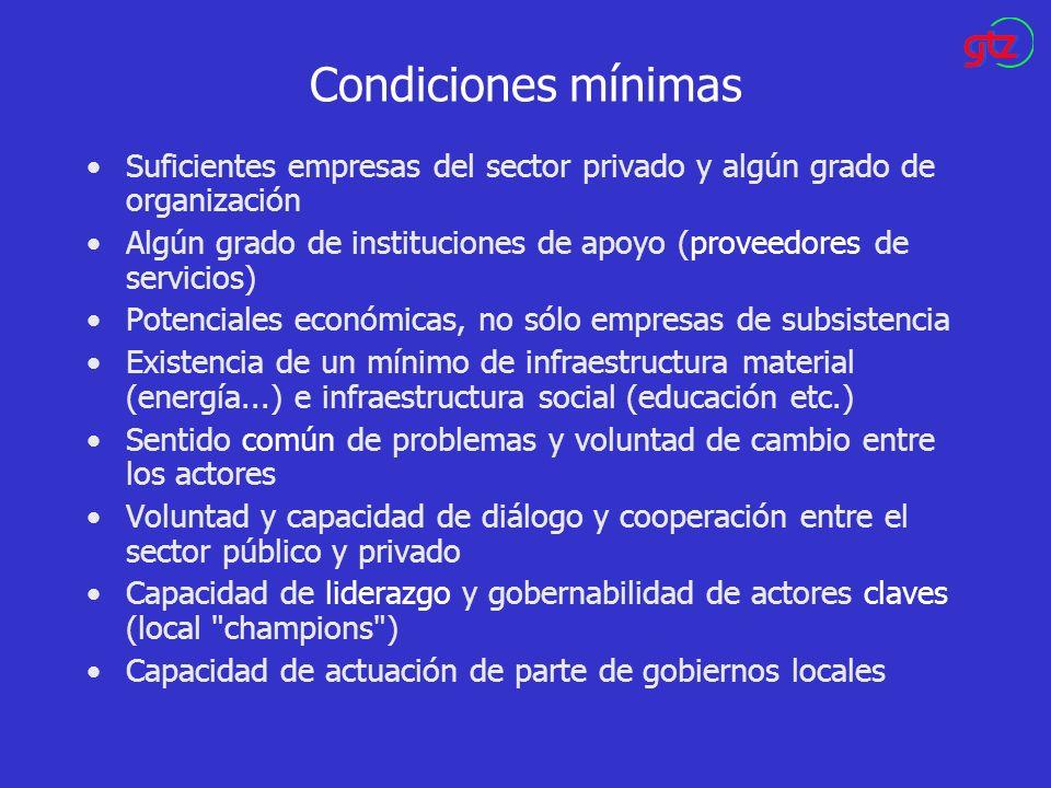 Condiciones mínimas Suficientes empresas del sector privado y algún grado de organización Algún grado de instituciones de apoyo (proveedores de servic