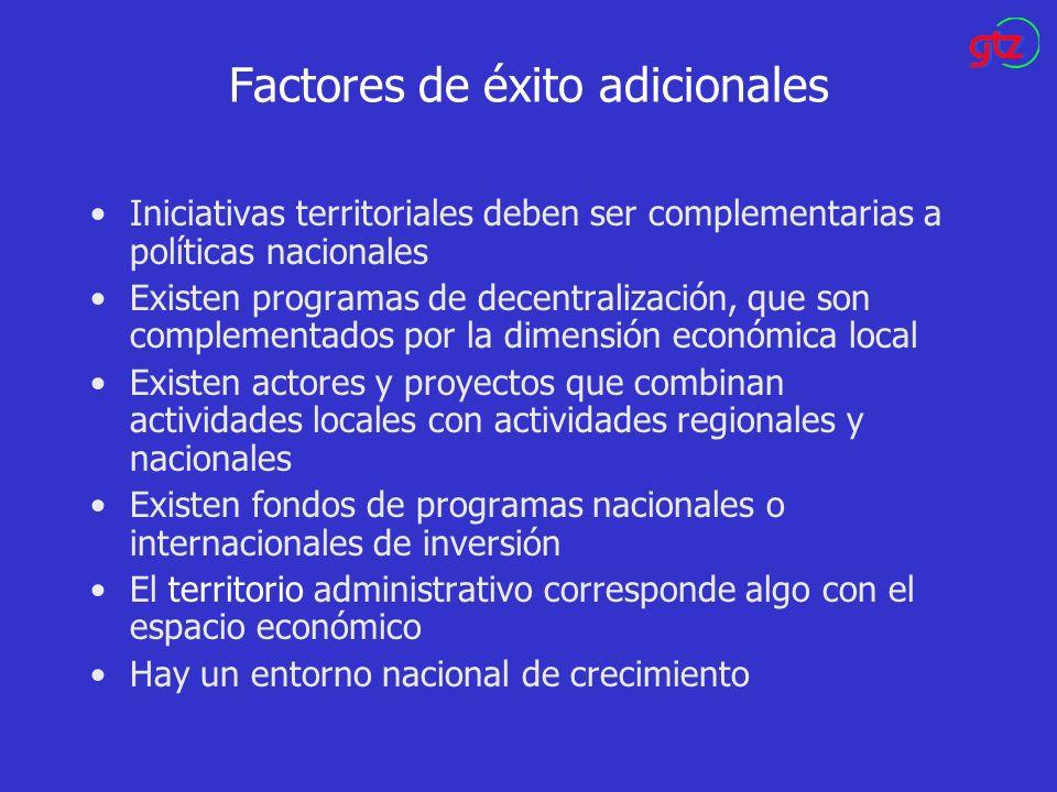 Factores de éxito adicionales Iniciativas territoriales deben ser complementarias a políticas nacionales Existen programas de decentralización, que so