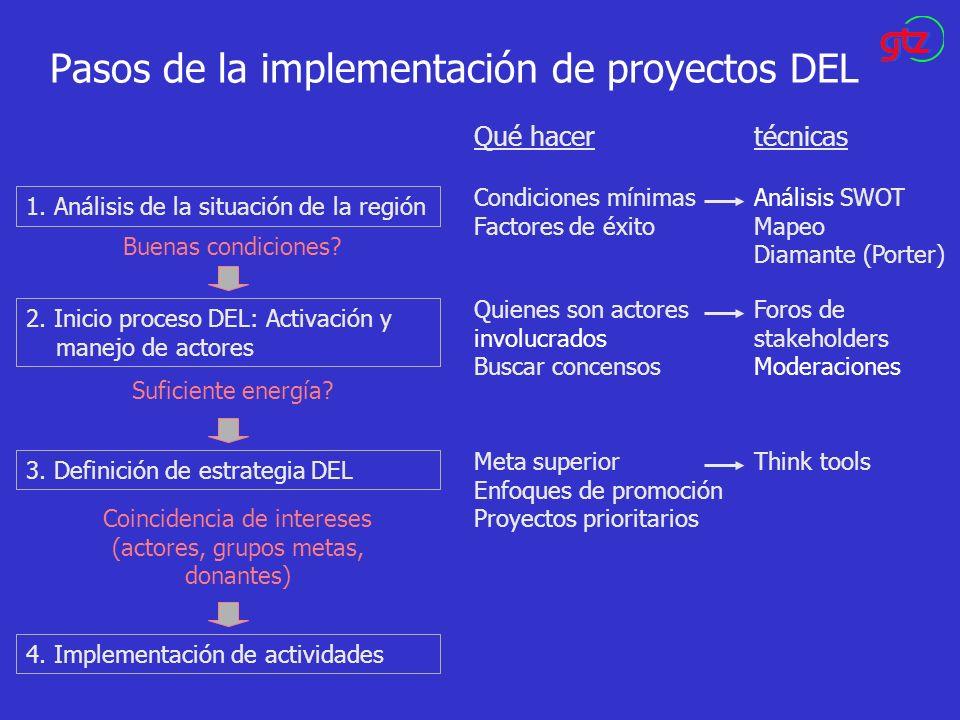 Pasos de la implementación de proyectos DEL 1. Análisis de la situación de la región 2. Inicio proceso DEL: Activación y manejo de actores 3. Definici