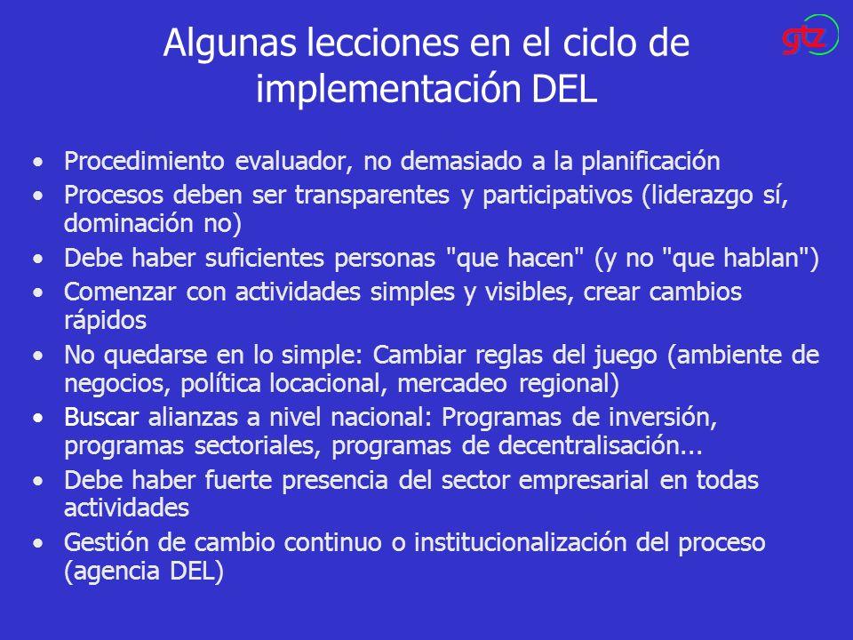 Algunas lecciones en el ciclo de implementación DEL Procedimiento evaluador, no demasiado a la planificación Procesos deben ser transparentes y partic