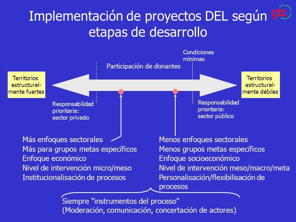 Implementación de proyectos DEL según etapas de desarrollo Territorios estructural- mente fuertes Territorios estructural- mente débiles Responsabilid
