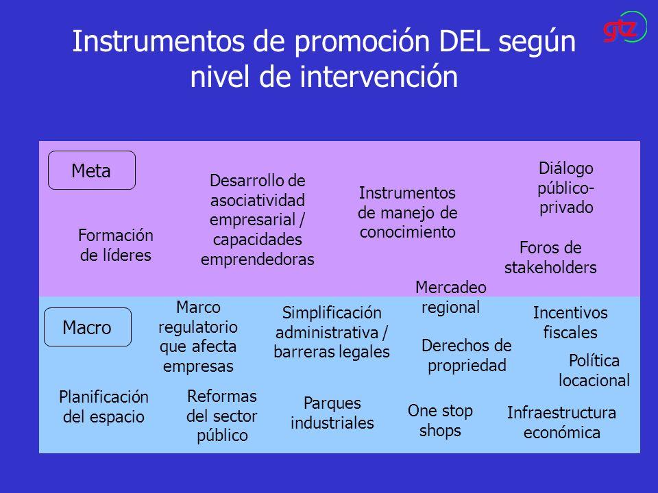 Instrumentos de promoción DEL según nivel de intervención Meta Macro Formación de líderes Foros de stakeholders Desarrollo de asociatividad empresaria