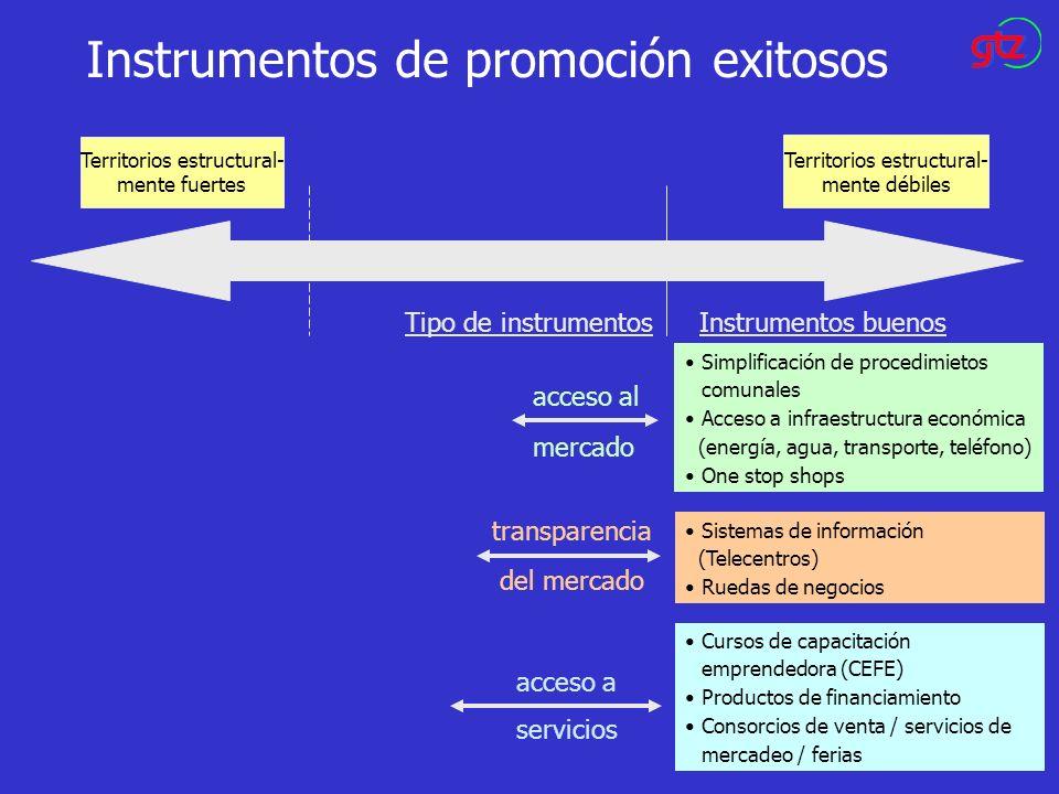 Instrumentos de promoción exitosos Territorios estructural- mente fuertes Territorios estructural- mente débiles acceso al mercado Simplificación de p