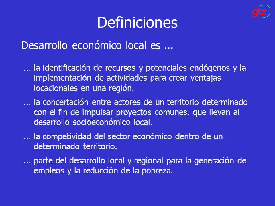 Definiciones... la identificación de recursos y potenciales endógenos y la implementación de actividades para crear ventajas locacionales en una regió