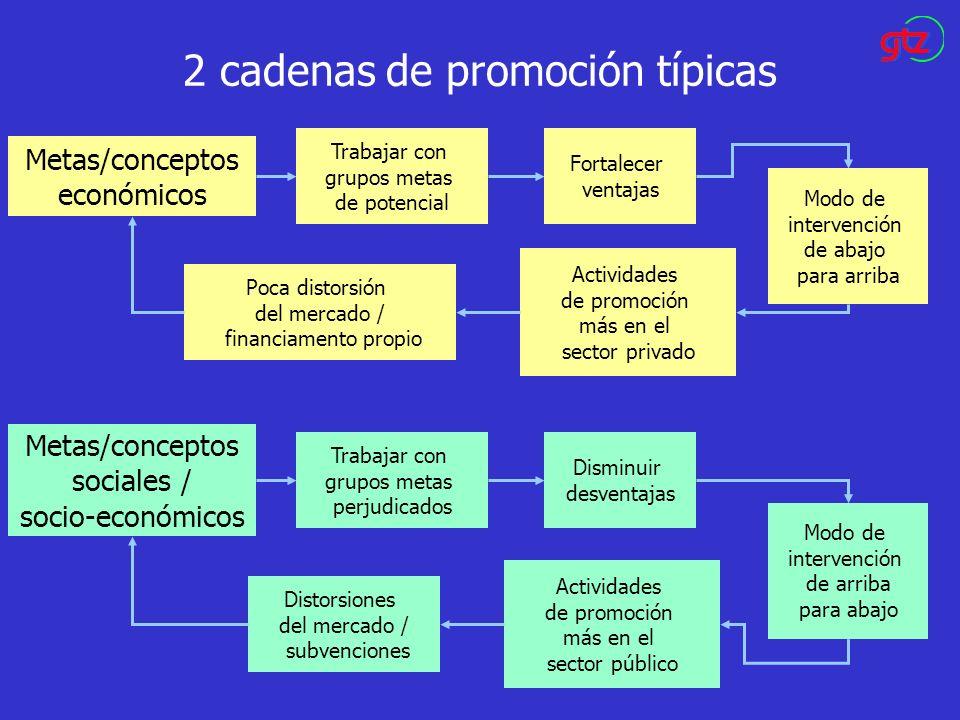 2 cadenas de promoción típicas Metas/conceptos económicos Trabajar con grupos metas de potencial Fortalecer ventajas Modo de intervención de abajo par