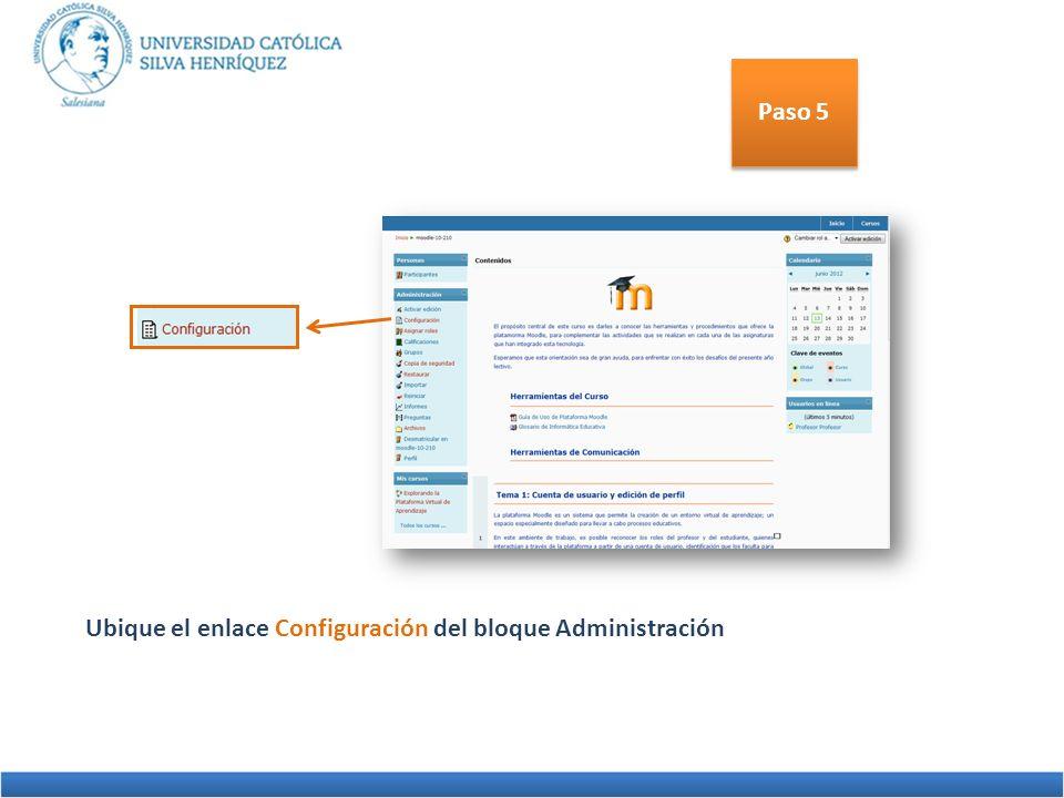 Paso 5 Ubique el enlace Configuración del bloque Administración