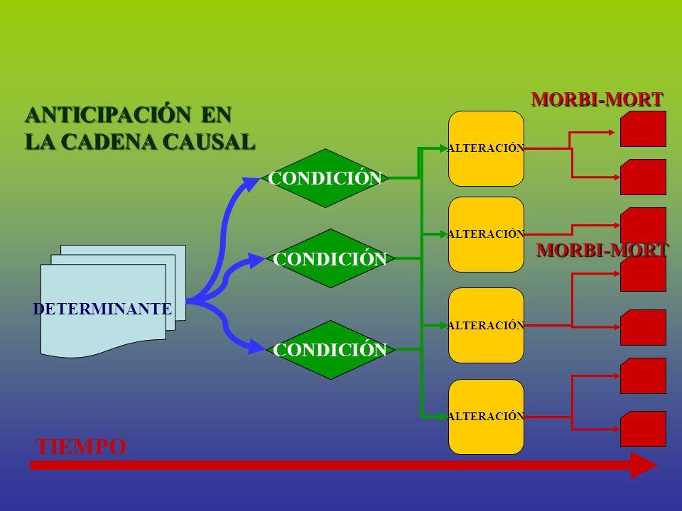 DETERMINANTE ALTERACIÓN CONDICIÓN TIEMPO CONDICIÓN MORBI-MORT MORBI-MORT ANTICIPACIÓN EN LA CADENA CAUSAL