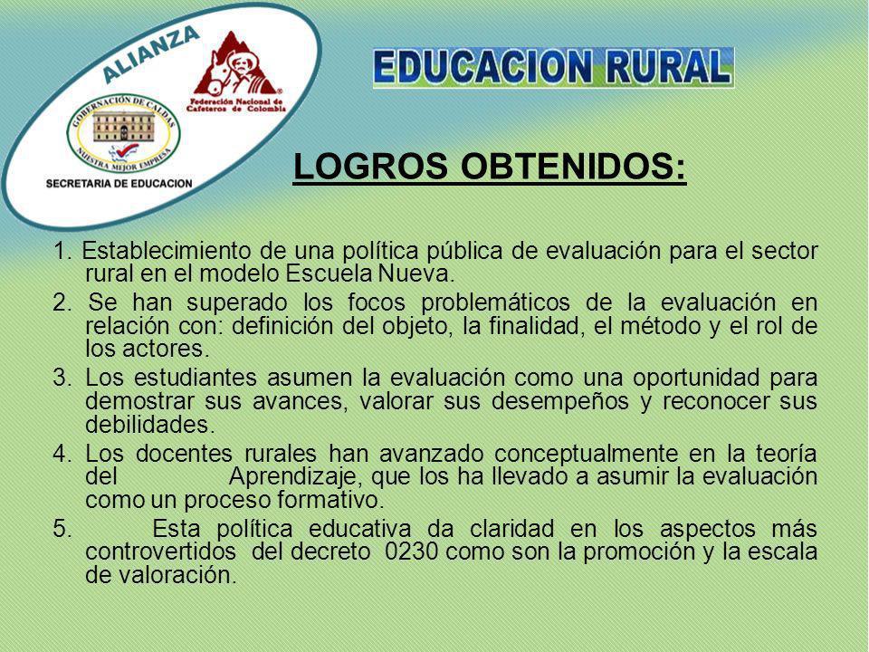 1. Establecimiento de una política pública de evaluación para el sector rural en el modelo Escuela Nueva. 2. Se han superado los focos problemáticos d