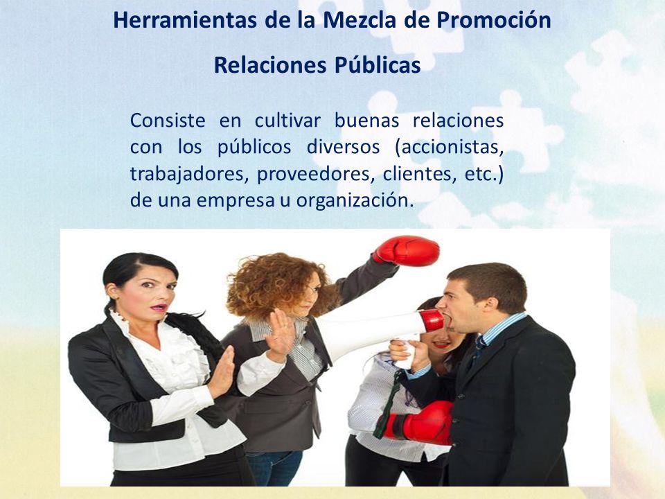 Herramientas de la Mezcla de Promoción Relaciones Públicas Consiste en cultivar buenas relaciones con los públicos diversos (accionistas, trabajadores
